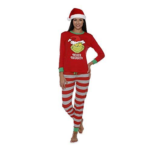 Pijamas De Navidad A Juego De La Familia Grinch Conjuntos De Manga Larga Conjunto De Ropa De Hogar De Cuello Redondo Conjunto De Pijama De 2 Piezas Ajustado (Mather,XL)