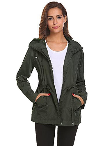 Romanstii Windproof Jacket Women Lightweight Waterproof Raincoat with Hood Outdoor Travel,Army Green Waterproof Rain Jacket,Medium
