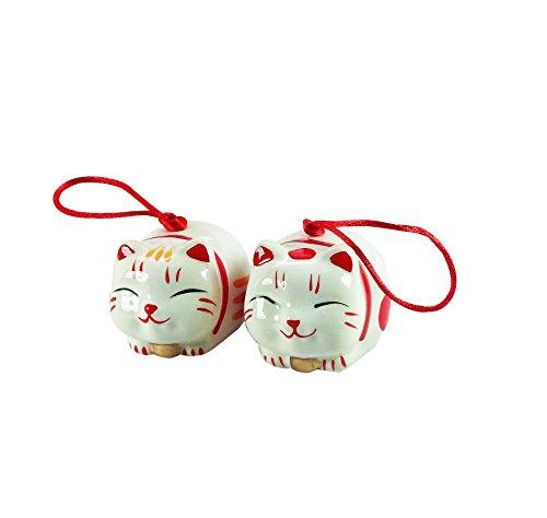 Goodman and Wife Japanese Hand Painted Ceramic 'Maneki Neko' Lucky Cat Wind Bell Price for 1
