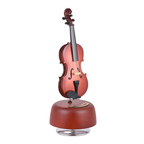 Kalaok Clásico Violación de Violín Caja de Música Con Rotación Base Musical Instrument Miniature Regalo de Artware de la Reproducción