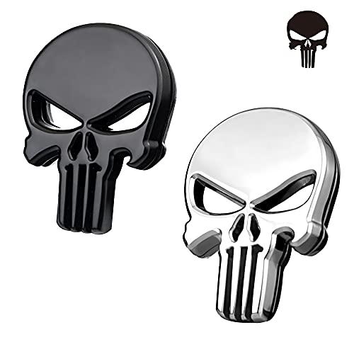 CYUaoao 4 Piezas Pegatina Punisher Coche 3D Etiquetas Engomadas del Coche del Cráneo Metal para Decoración de Coches Motos -...