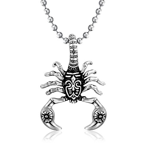 Bling Jewelry Tribales De Escorpión Zodíaco Collar Colgante para Hombres Tono Plata Oxidada De Acero Inoxidable Negro De 20 Pulgadas