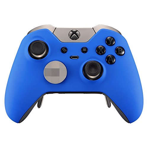 eXtremeRate Soft Touch Grip Blue Front Housing Shell Faceplate for Xbox One Elite Controller Model 1698 with Thumbstick Accent Rings - Controller NOT Included
