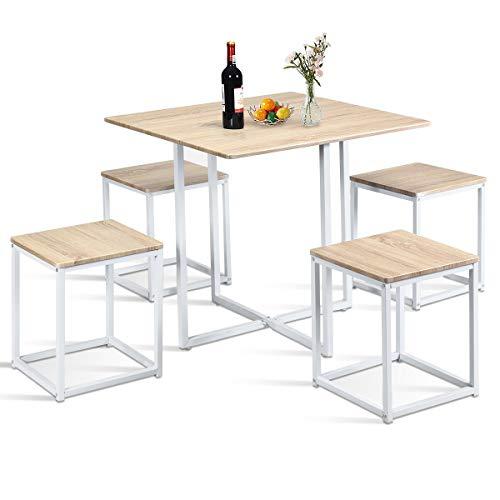 COSTWAY 5-teilige Essgruppe, Esszimmergarnitur, Tischgruppe, Küchentisch und 4 Stühle, mit Metallbeinen, ideal für Küche Esszimmer, platzsparend