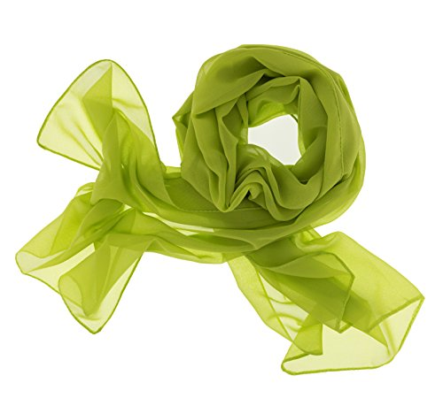 Dolce Abbraccio Dolce Abbraccio Damen Schal Stola Halstuch Tuch aus Chiffon für Frühling Sommer Ganzjährig Apfelgrün Grün