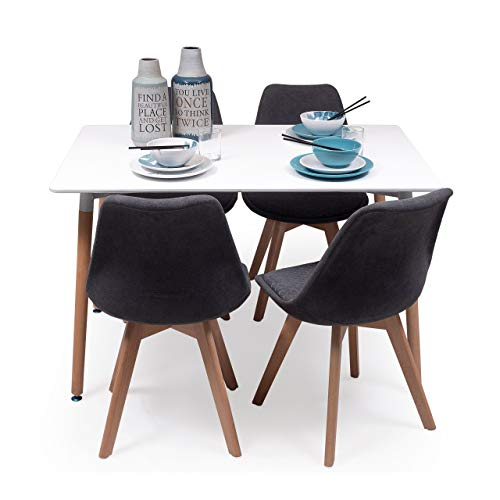 Conjunto de Comedor Tower Day Rombos con Mesa lacada Blanca de 120x80 cm y 4 sillas New Day Tela (Gris Oscuro)