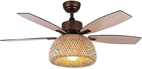 Ventilatore a soffitto con lampadario di illuminazione E27 Lighting Telecomando Telecomando Ventilatore Tranquillo 40W Rattan Ventilatori a soffitto di bambù per ventilatore in legno Camera per bambin