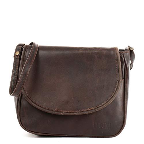 LECONI kleine Umhängetasche Damentasche Schultertasche Festivaltasche Leder 22x18x6cm dunkelbraun LE3047-wax