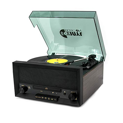 8-in-1 Turntable Music Center with Built-in Stereo Speakers,Nostalgic Classic Wood Bluetooth Record Player with USB Play&Encoding,CD Player and FM Radio