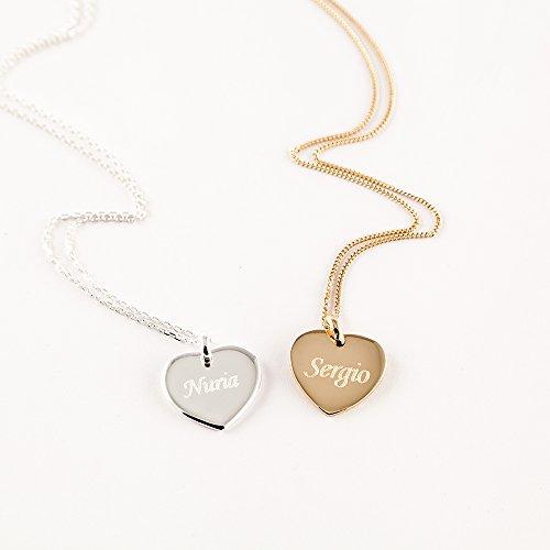 Regalo de aniversario, San Valentín, cumpleaños o Navidad. Joya personalizada para tu pareja o para tu madre: colgante de corazón chapado en oro