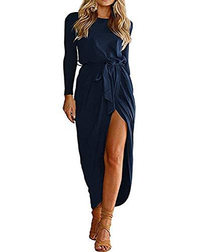 YOINS Sommerkleid Damen Lang Maxikleider für Damen Strandkleid Sexy Kleid Kurzarm Jerseykleider Strickkleider Rundhals mit Gürtel Langarm,EU40-42/M,Langarm-dunkelblau