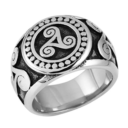 AsAlways Men's Simple Celtic Knot Stamp Mysterious Rune Totem Retro Stainless Steel Ring Suitable for Moto Bikes