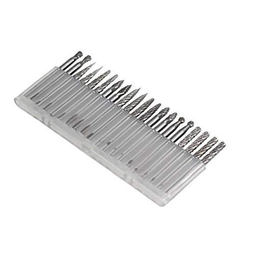 Wolfram Stahl Schleifkopf Rotary Burr Set Carving-Werkzeug DIY Holzbearbeitung Drill Metallpolier Dremel, 20PCS