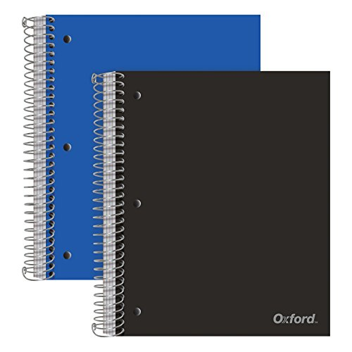 Oxford Spiral Notebooks, 5-Subject, Wide Ruled Paper, Durable Plastic Cover, 200 Sheets, 5 Divider Pockets, 2 Per Pack (10387), Assorted