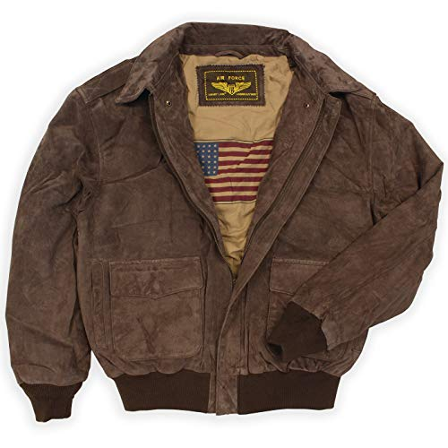 Landing Leathers Men's Air Force A-2 Suede Leather Flight Bomber Jacket Brown XX-Large