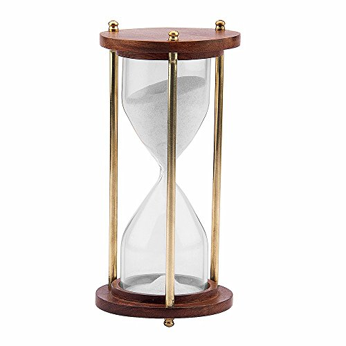 Kartique Wooden and Brass Sand Timer Hour Glass Sandglass Clock Ideal for Exercise Tea Making Antique Nautical Décor Theme Height 6 Inches 5 Minutes
