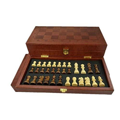NBVCX Inicio Accesorios Juego de ajedrez Ajedrez Clásico Europeo y Americano Caja de Cuero Plegable Ajedrez Juego de Mesa portátil Juego de Backgammon y ajedrez (Ejercicio de Pensamiento Intelectual)