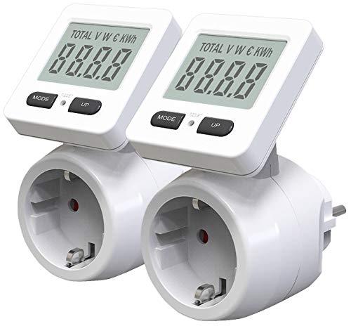 revolt Stromzähler: 2er-Set Digitale Energiekostenmesser, 180° drehbares Display, 3.680 W (Energiezähler)