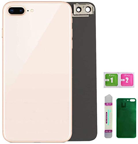 Afeax OEM Back Glass Cover Back Battery Door Installed Camera Frame Lens Replacement for iPhone 8 Plus (Gold)