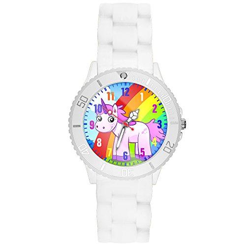 Taffstyle Kinder-Armbanduhr Analog Quarz mit Silikon-Armband Zahlen Einhorn Kinderuhr Lernuhr Sport-Uhr Rainbow Weiß