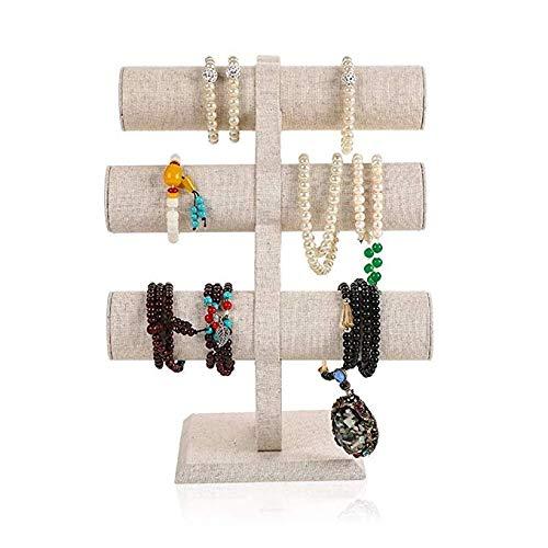 ZXCVB Soporte de sobremesa exhibición de la joyería - pulsera Titular de nivel 3 - T-bar - Escaparate de joyería, Organizador for los relojes, pulseras, collares, cadenas decorativas