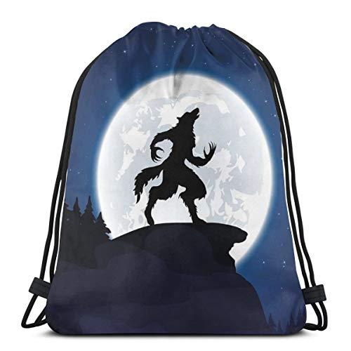 LLiopn Drawstring Sack Backpacks Bags,Full Moon Night Sky Growling Werewolf Mythical Creature In Woods Halloween,Adjustable.,5 Liter Capacity,Adjustable.