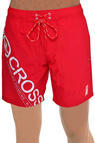 CrossHatch Herren Pazifik Designer Netzfutter Schwimm Shorts Strand Badehose - Hoch Rot, Größe - XL - 40-42