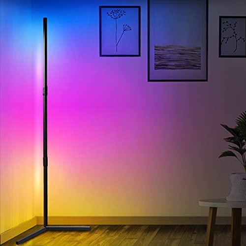 Aney Well Lámpara de pie LED, 2800LM 20W RGB Lámpara Led Moderna con Control Remoto, Lámpara de Pie Led Regulable RGB para Salón, Dormitorio, Oficina Decoración, Right angle