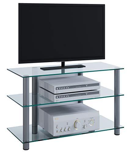 VCM 14120 TV Rack Lowboard Schrank Konsole Fernsehtisch Möbel Bank Glastisch Tisch Aluminium / Klarglas