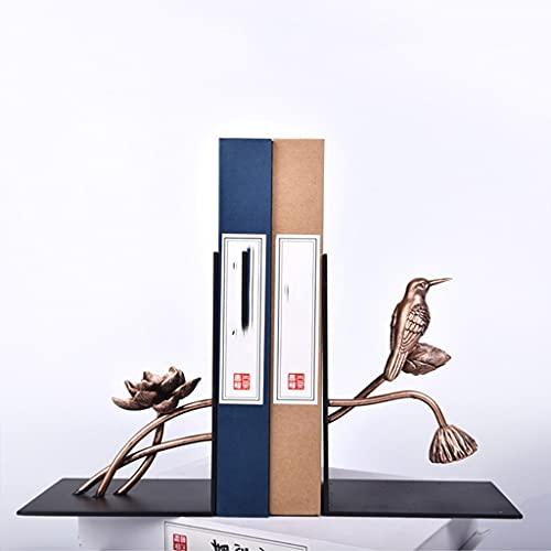SHYPT 1 par Estilo Chino Flor pájaro Patern Hierro sujetalibros Estante sujetalibros Titular Oficina Material Escolar papelería Regalo decoración del hogar