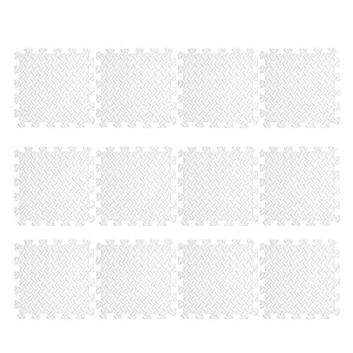 LCZB Esteras de Goma, Esteras de Ejercicios de Espuma, Estera de Pisos de Gimnasio, Azulejos de Rompecabezas Criss-Cross EVA, Azulejos de Pecho de 12Pgarage (31Cmx31cm),A