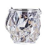 Bestonzon Runde Acryl Eiseimer tragbar Transparent Eisbehälter mit Eiszange Weinset für Bar KTV (Diamantmaserung)