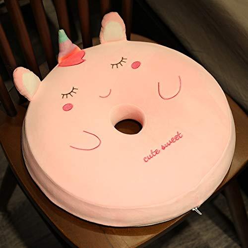 HOUMEL Pequeño cojín de espuma viscoelástica suave con forma de animal, diseño de unicornio, cojín de apoyo para la espalda, cojín adicional para asiento de coche, 38 cm 289 (color rosa)