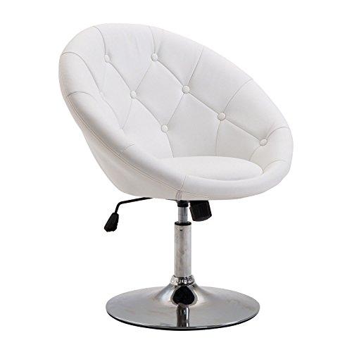 HOMCOM Arbeitshocker Drehhocker Drehstuhl Bürostuhl verchromt höhenverstellbar, PU+Stahl, Schwarz/Weiß, 56x71x78,5-90,5cm (Weiß)