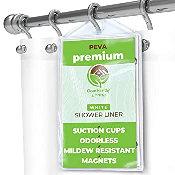 Clean Healthy Living Premium PEVA White Shower Curtain Liner with Magnets & Suction Cups - 70 X 71 in Long