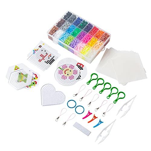 4000 Bügelperlen Set,Johiux 5mm Mit bügelperlen platten,Muster Steckperlen in Organizerbox,24 Farben Kreatives DIY-Kit mit bügelperlen glitzer für Kinder. (5mm)