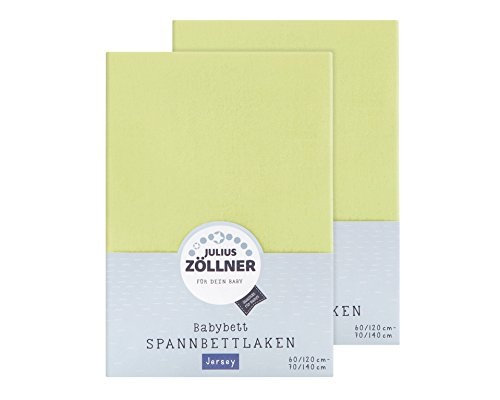 Julius Zöllner 8380313340 Lot de 2 draps-housses en jersey pour lit d'enfant 60 x 120/70 x 140 cm, vert
