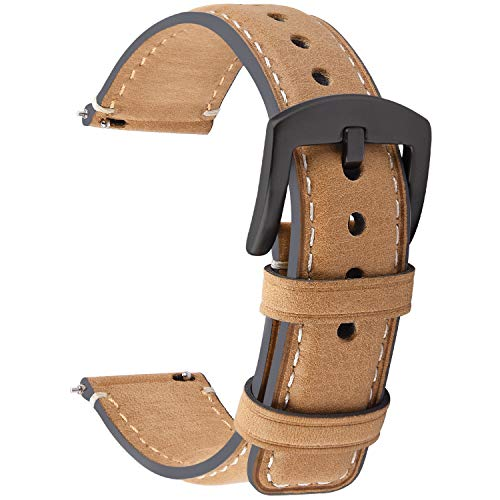 Fullmosa 3 Colors Burnished Leather Watch Band 18mm/20mm/22mm, Quick Release YOLA Watch Strap with D-Shape Buckle for Men Women,20mm Light Brown+Smoky Grey