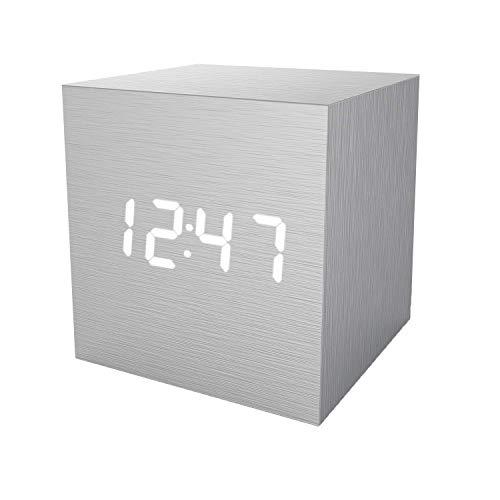 置き時計 置時計 デジタル おしゃれ 北欧 木目調 アンティーク 時計 クロック 目覚まし時計 デジタル時計 アラーム時計 卓上 アラーム 日付 温度 木製 ウッド シンプル インテリア リビング 新築祝い 結婚祝い ギフト(シルバー)