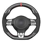 SAXTZDS Cubierta del Volante del Coche, para Volkswagen Golf 6 GTI MK6 VW Polo GTI Scirocco R Passat CC R-Line