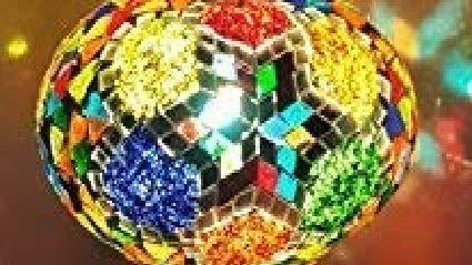 Abat-jour color/é marocain fait main en verre de remplacement uniquement.