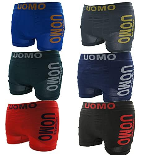 UOMO 6/12/18 Pack Boxershorts Short Seamless UNTERWÄSCHE Herren Boxer Unterhose S-XL (L/XL, 6)
