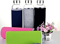 Bazaar BPA Glass Outdoor Sport Water Bottle With Tea Filter Protective Bag 550ml