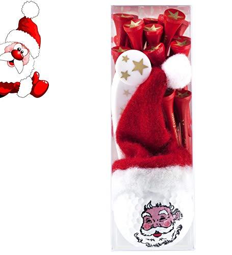 Golfgeschenk / Weihnachtsgeschenk: Golfball SANTA / NIKOLAUS mit Weihnachtsmütze und Weihnachtstees im Christmas-Design