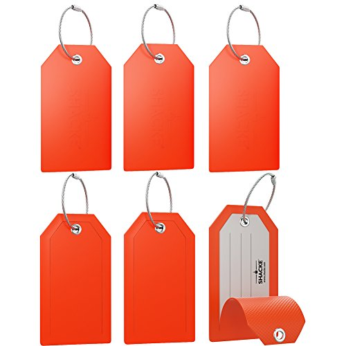 Mini Luggage Tag with Full Privacy Cover and Stainless Steel Loop (6pk, Orange)