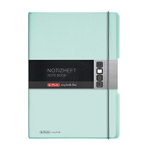 Herlitz 11408655 Notizheft (A4, PP-Wechselcover mit Verschlußgummi, 80g/m²) 80 Blatt minze-transparent