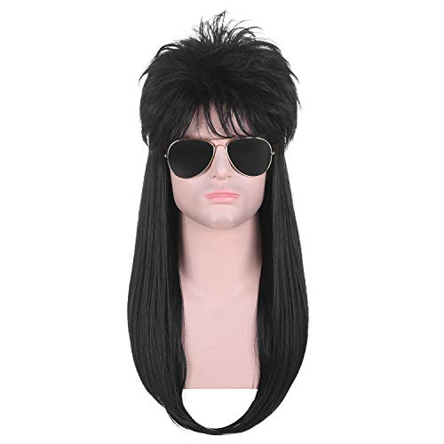 AMZCOS Long Straight 80s Straight Black Rock-Rocker Wigs for Mens Themed Party, Halloween and Cosplay