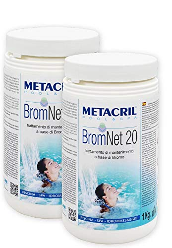 Metacril Brom Net 20 1 kg X 2 PZ Bromo a Lento in pastiglie da 20gr.per Piscina e idromassaggio (Teuco,Jacuzzi,Dimhora,Intex,Bestway, ECC.) Spedizione IMMEDIATA