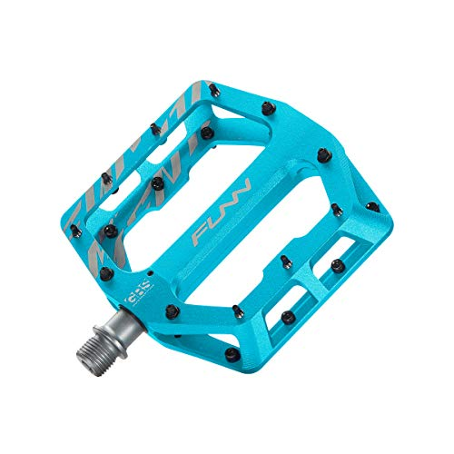 Funn Funndamental Flat BMX/MTB Bike Pedal Set - Wide Platform Bicycle Pedal, Adjustable Grip, 9/16-inch CrMo Axle (Turquoise)