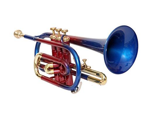 La válvula de corneto de sahibjihandicrafts 3 está hecha de rojo + azul con estuche y boquilla libre